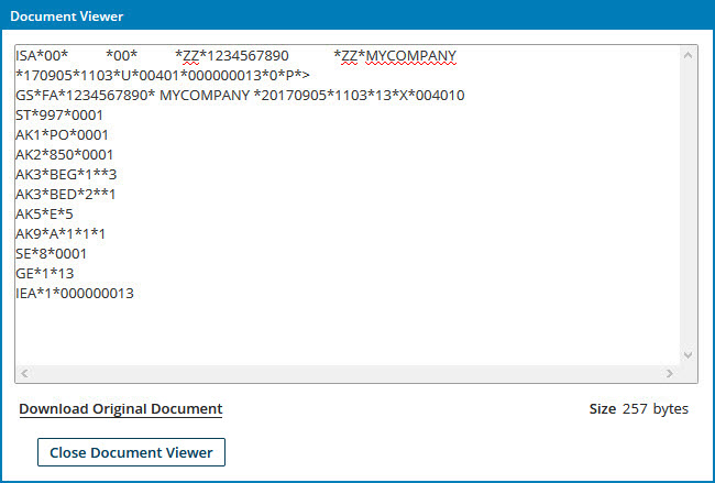 Inbound EDI document validation and acknowledgment