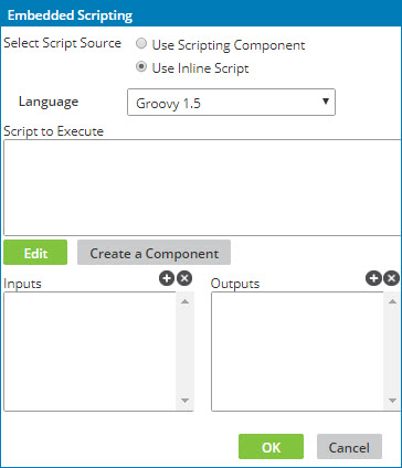 Configuring a custom scripting function with an inline script
