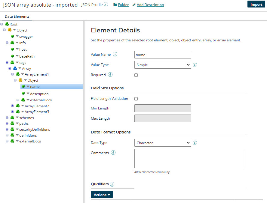 JSON profile's Data Elements tab