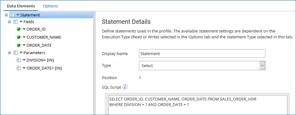 Adding parameters to a database profile